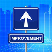 Improvement Sign Represents Upward Signboard And Pointing — Foto de Stock