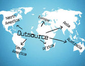 Outsource Worldwide Represents Independent Contractor And Resources — Stock Photo