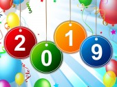 New Year Indicates Two Thosand Nineteen And Celebrate — Stock Photo