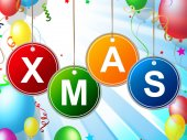 Happy Xmas Indicates Christmas Greeting And Celebrate — Stock Photo