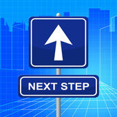 Next Step Represents Arrow Display And Progression — Foto Stock