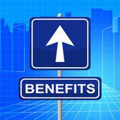 Benefits Sign Represents Display Bonus And Rewards — Stock Photo