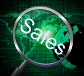 Sales Magnifier Means Promotion Sell And Magnify — Stock Photo