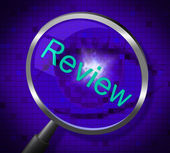 Magnifier Review Represents Magnifying Research And Evaluating — Stock Photo
