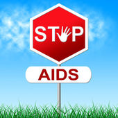 Aids Stop Represents Acquired Immunodeficiency Syndrome And Control — Stock Photo