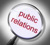 Public Relations Represents Searches Promotional And Magnification — Stock Photo