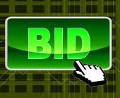 Bid Button Represents World Wide Web And Auction — Stock Photo