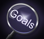 Magnifier Goals Represents Targeting Motivation And Search — Stock Photo