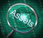 Assets Magnifier Represents Magnify Searching And Property — Stock Photo