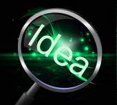Idea Magnifier Shows Magnifying Ideas And Invention — Stock Photo