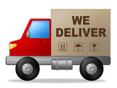 We Deliver Shows Postage Moving And Vehicle — Stock Photo