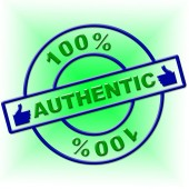 Hundred Percent Authentic Indicates Genuine Article And Absolute — Stock Photo
