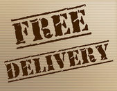 Free Delivery Indicates With Our Compliments And Courier — Stock Photo