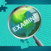 Examine Magnifier Represents Check Up And Checking — Stock Photo