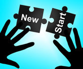 New Start Means Up To Date And Action — Stock Photo