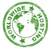 Worldwide Hosting Indicates Worldly Server And Web — Stock Photo