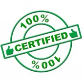 Hundred Percent Certified Indicates Authenticate Absolute And Verify — Stockfoto