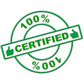 Hundred Percent Certified Indicates Authenticate Absolute And Verify — Stock Photo