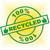 Hundred Percent Recycled Indicates Go Green And Absolute — Stock Photo