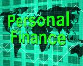 Personal Finance Shows Savings Earnings And Accounting — Stock Photo