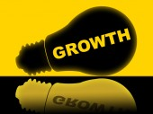 Growth Lightbulb Shows Develop Improve And Lamp — Stock Photo