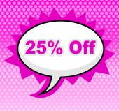 Twenty Five Percent Represents Display Promo And Promotional — Stock Photo