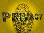 Privacy Fingerprint Indicates Login Unauthorized And Encrypt — Stock Photo