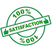 Hundred Percent Satisfaction Indicates Absolute Satisfied And Contentment — Stock Photo