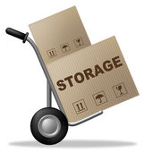 Storage Package Shows Storehouse Container And Storing — Stock Photo