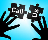 Call Us Represents Debate Phone And Communicating — Stock Photo