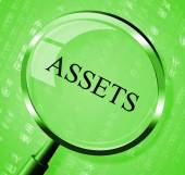 Assets Magnifier Shows Valuables Goods And Magnify — Stock Photo