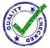 Quality Checked Represents All Right And O.K. — Stock Photo