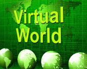 Virtual World Means Web Site And Earth — Stock Photo