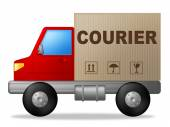 Courier Truck Means Sending Transporting And Deliver — Stock Photo