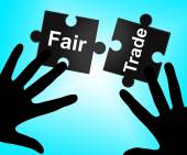 Fair Trade Indicates Purchase Environment And Merchandise — Stock Photo