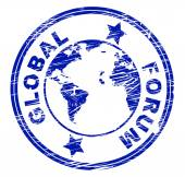 Global Forum Means Social Media And Communication — Stock Photo