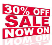 Thirty Percent Off Represents At This Time And Clearance — Stock Photo