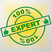 Hundred Percent Expert Indicates Training Proficiency And Experts — Stock Photo