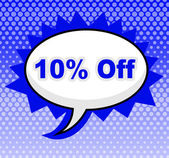 Ten Percent Off Represents Closeout Discounts And Message — Stock Photo