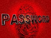 Password Fingerprint Shows Log Ins And Accessible — Stock Photo