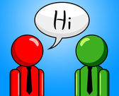 Hi Conversation Shows How Are You And Chinwag — Stock Photo