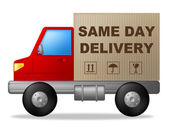 Same Day Delivery Means Fast Shipping And Freight — Stock Photo
