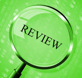 Review Magnifier Indicates Evaluate Appraisal And Assessing — Stock Photo