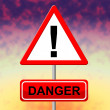 Danger Sign Indicates Hazard Caution And Placard — Stock Photo #56004775