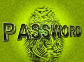 Password Fingerprint Indicates Log Ins And Accessible — Stock Photo