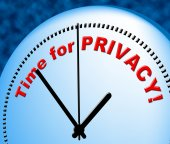 Time For Privacy Represents At The Moment And Confidential — Stock Photo