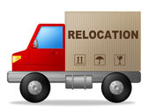 Relocation Truck Indicates Buy New Home And Delivery — Stock Photo