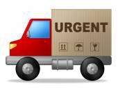 Urgent Truck Indicates Urgency Transport And Important — Stock Photo