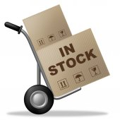 In Stock Means Carton Logistic And Box — 图库照片