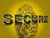 Secure Access Indicates Password Fingerprint And Protected — Stock Photo